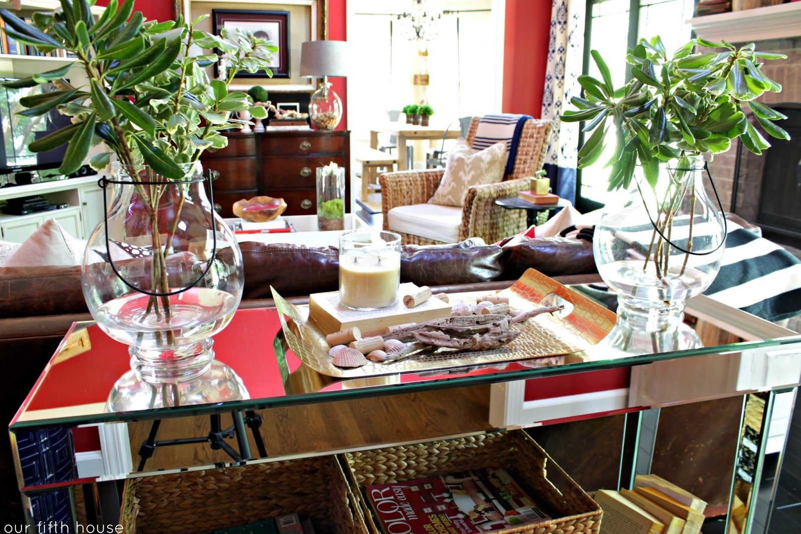 New mirrored console table