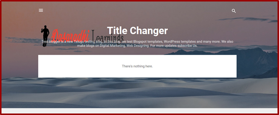 How to Add  Blog Title, Description and Logo in Blogger