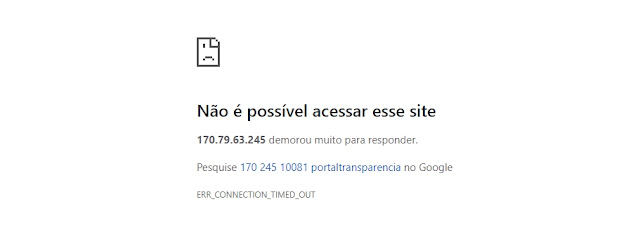 """Roncador: Portal da Transparência continua """"fora do ar"""""""