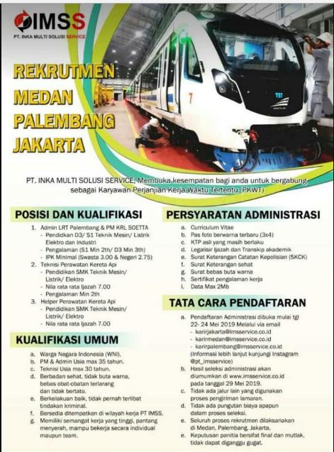 Lowongan Kerja PT Inka Multi Solusi Service Minimal SMK D3 S1 Seluruh Indonesia