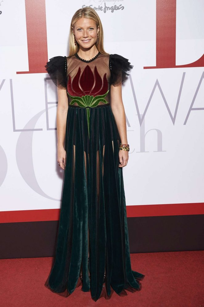 Gwyneth Paltrow stuns in sheer panelled gown at the Elle party in Madrid