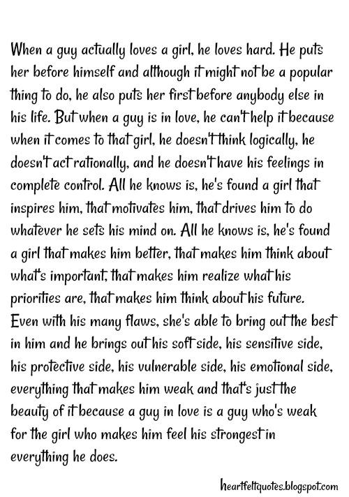 When a guy actually loves a girl, he loves hard. | Heartfelt Love