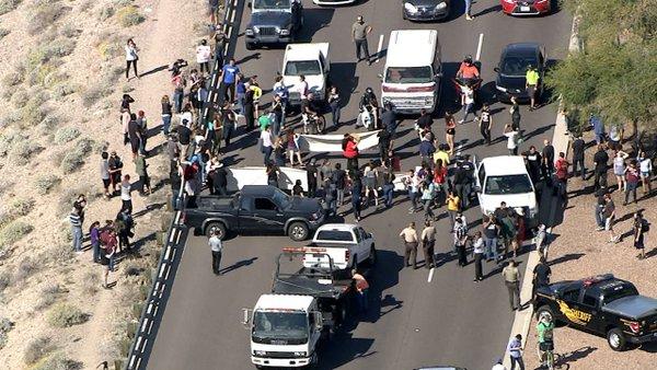 Protesters Block Road To Trump Rally In Arizona