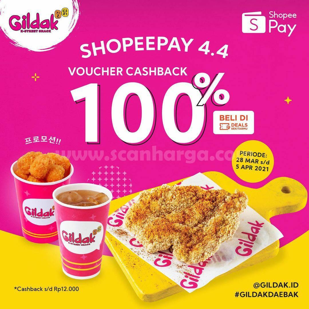 GILDAK Promo ShopeePay 4.4! Cashback 100% dengan Voucher Deals ShopeePay