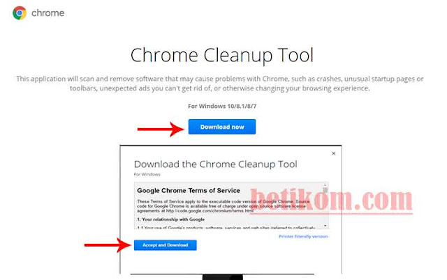 Chrome Cleanup tool menghapus pop up dan malware