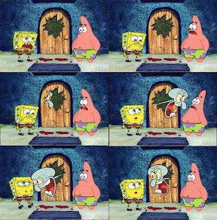 Polosan meme spongebob dan patrick 18 - squidward marah-marah ke patrick dan spongebob sampai menjebol pintu