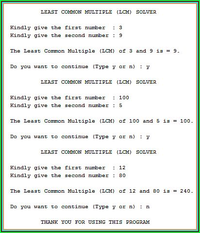 Free Programming Source Codes To All: Least Common Multiple (LCM