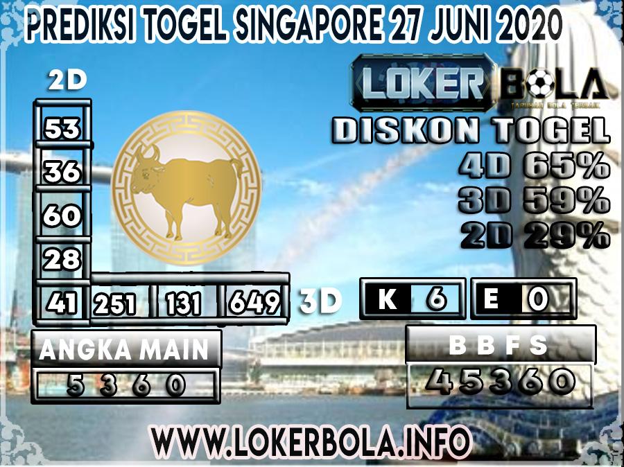 PREDIKSI TOGEL SINGAPORE LOKERBOLA LOKER4D2 27 JUNI 2020