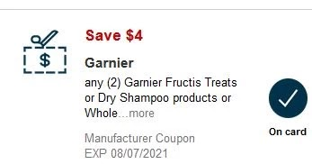 4.00/2 Garnier Fructis Treats or Dry Shampoo Products, or Whole Blends Sulfate-Free Remedy or Miracle Treatment CVS APP MFR Digital Coupon (go to CVS App)