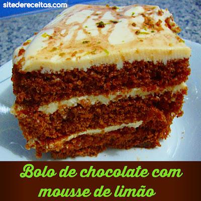 Bolo de chocolate com mousse de limão