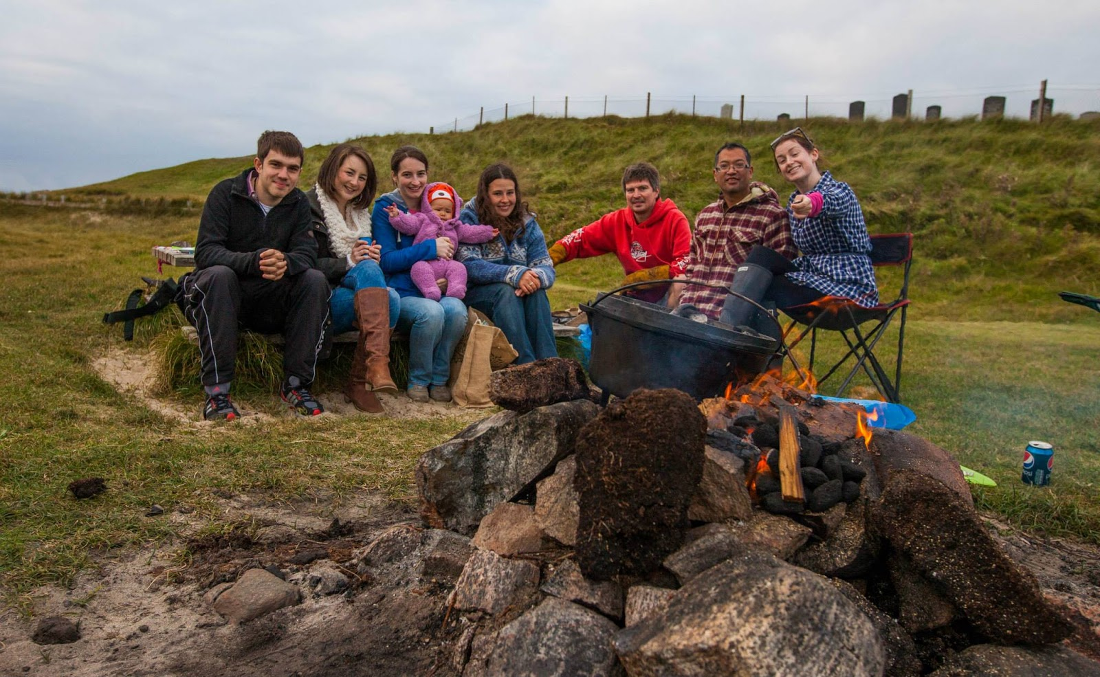 Beachside open fire bbq barbecue friends farewell leaving party isle of lewis western isles outer hebrides dal beag