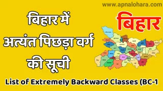 List Of Extremely Backward Classes (BC1 Caste List in Bihar 2021), EBC Caste List in Bihar 2021