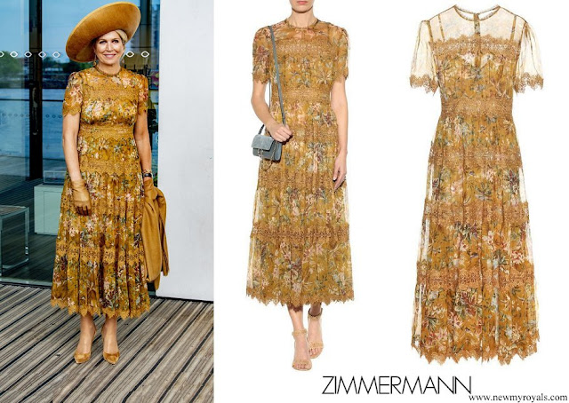 Queen Maxima wore Zimmermann Tropicale Crinkle Dress Mustard Floral Yellow