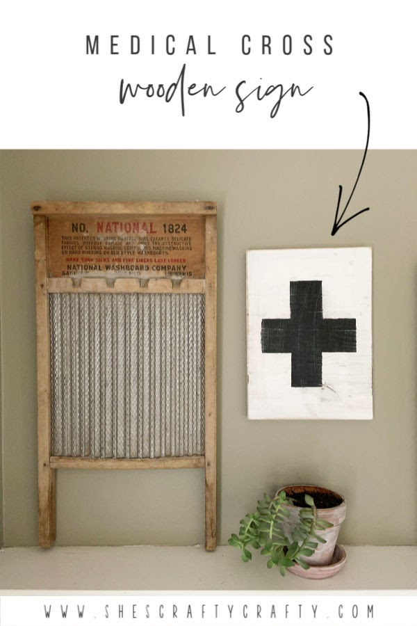 Medical Cross Wooden Sign  |   Make this Wooden Sign of a Medical Cross with supplies you probably already have  |  Easy DIY  |   She's Crafty