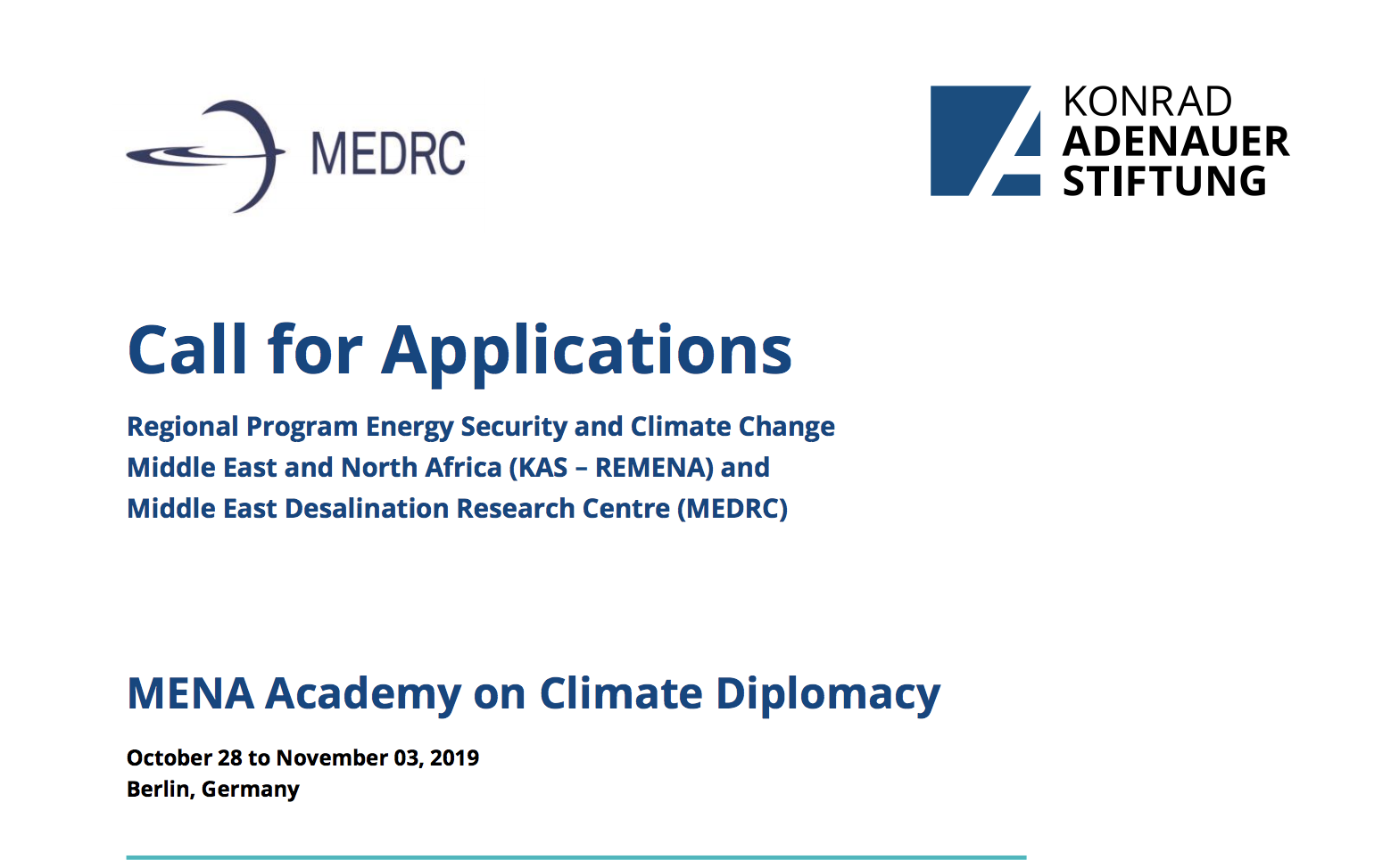 MENA Academy on Climate Diplomacy Conference 2019 in Berlin