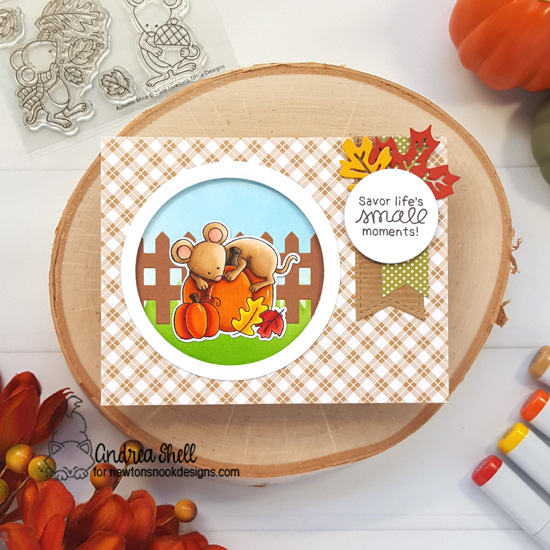 Fall Mouse Card by Andrea Shell | Autumn Mice Stamp Set by Newton's Nook Designs #newtonsnook #handmade