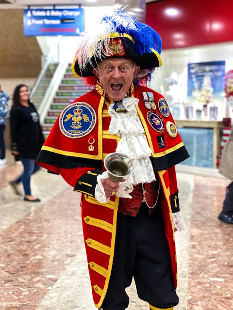 Traditional Town crier getting ready to ring his bell