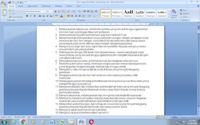 Contoh tugas wali kelas dan job description pengurus yayasan pendidikan