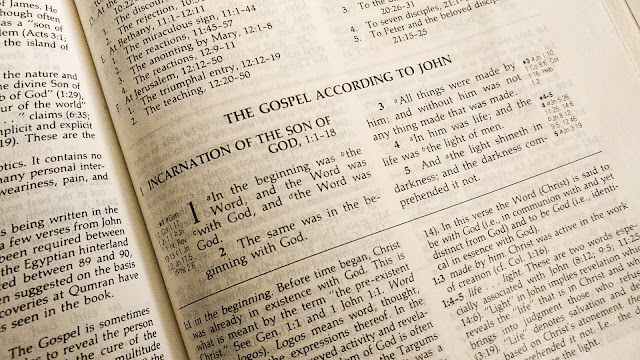 Bible opened to Gospel of John