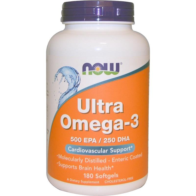 Now Foods, Ultra Omega-3, 500 ЭПК/250 ДГК, 180 мягких таблеток