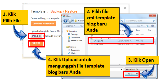 Upload template blog di blogspot