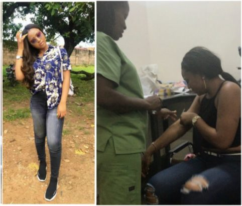 Regina Daniels captured crying after injection (video)