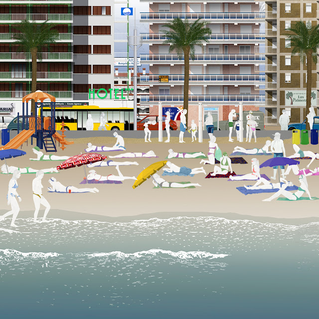 playa , industria , turismo , sol , dibujo