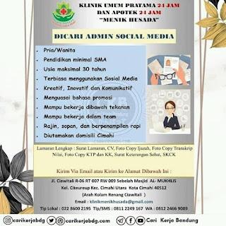 Lowongan Kerja Klinik Umum dan Apotek 24 jam Bandung Agustus 2020