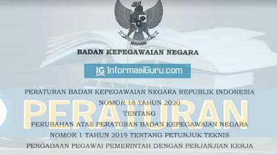 Unduh Peraturan BKN Nomor 18 Tahun 2020 tentang Perubahan Peraturan BKN Nomor 1 Tahun 2019 tentang Juknis Pengadaan Pegawai Pemerintah PPPK atau P3K