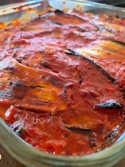 sweet kwisine, gratin, aubergine, basilic, tomates, sans lactose, eggplant, vegan