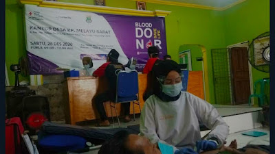 Pemdes Kampung Melayu Barat bersama PMI Kabupaten Tangerang  Giat  Donor Darah Saat Pandemi