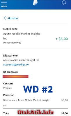 Bukti Pembayaran dari Survey Prediqt App 06 April 2020