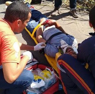 Acidente deixa três feridos na tarde dessa terça feira