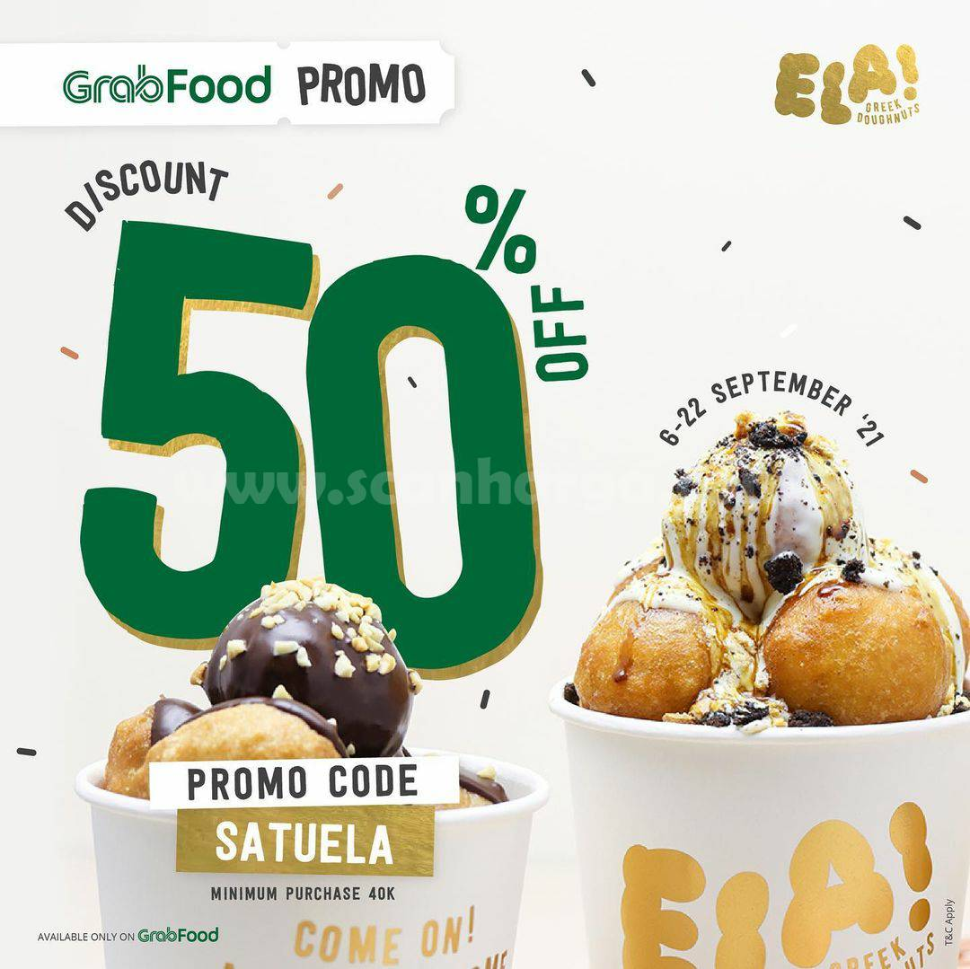 Ela Greek Doughnuts Promo Diskon 50% via Grabfood