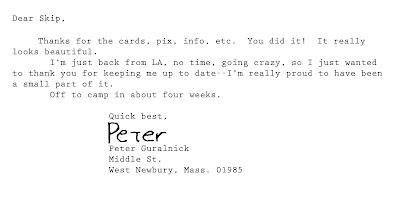 Guralnick, letter to Skip Henderson, 1991.