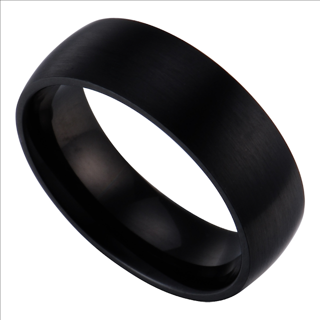 Flat Black Mens Wedding Bands