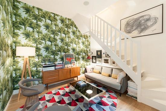 papel de parede, sala, living, decoração, decor, wallpaper, tapete colorido, tapete