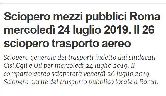 Situazione trasporto pubblico Roma lunedì 9 luglio