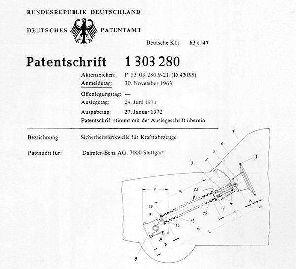 Patente del sistema de columna de dirección colapsable de Béla Barényi