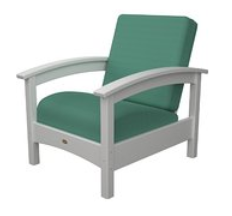Trex Outdoor Furniture Rockport Club Classic White Arm Chair with Spa Sunbrella Cushion
