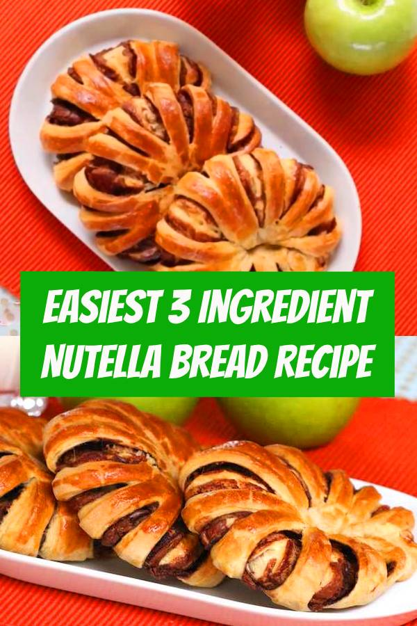 Easiest 3 Ingredient Nutella Bread – the easiest recipe for happiness! It's almost too pretty to eat! All you need is only 3 ingredients: crescent roll, Nutella or chocolate, and an egg. The perfect snack for breakfast, snacks, lunch or dinner treats. #nutella #bread #easysnack #snack