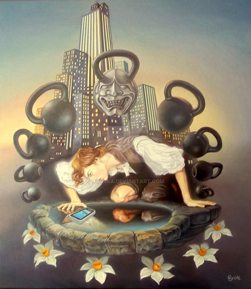 06-Narcissus-and-his-new-obsession-Gyuri-Lohmuller-Complex-Surreal-Paintings-that-make-you-Think-www-designstack-co