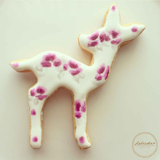 reindeer cookies painted with rose in natural food colouring