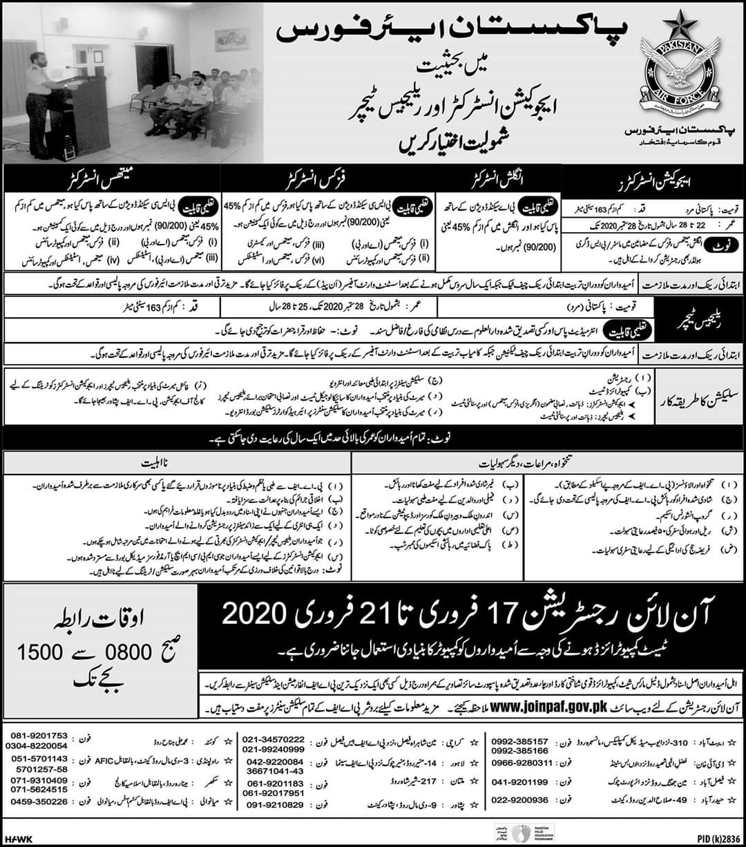 Pakistan Airforce has Announced Multiple Jobs in 2020