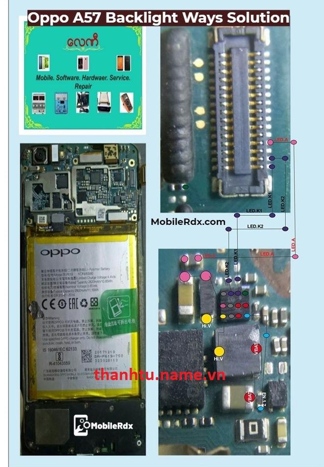 Oppo A57 mất hiển thị - mất đèn màn hình
