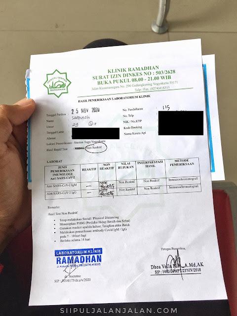 SUrat Hasil Rapid test di stasiun tugu yogyakarta