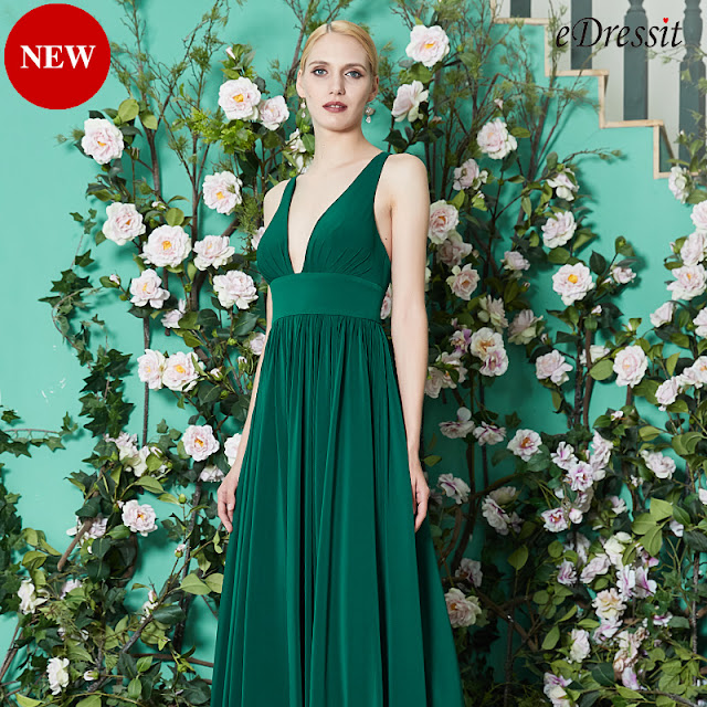 new green bridesmaid dress with v neck high slit