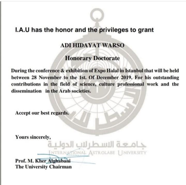 Ustadz Adi Hidayat Terima Gelar Doktor Kehormatan dari Universitas Astrolabe Turki