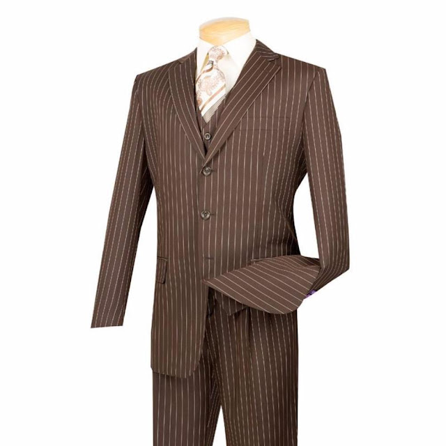 Regular Fit Men's Suit 3 Piece 3 Button Banker Stripe in Brown - 62 Regular - 57 Waist/ Brown