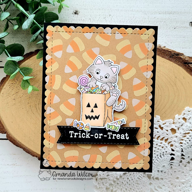 Halloween Kittens and Candy Corn Card by Amanda Wilcox   Trick or Treat Kittens Stamp Set, Candy Corn Stencil Set, Banner Trio Die Set and Frames & Flags Die Set by Newton's Nook Designs #newtonsnook